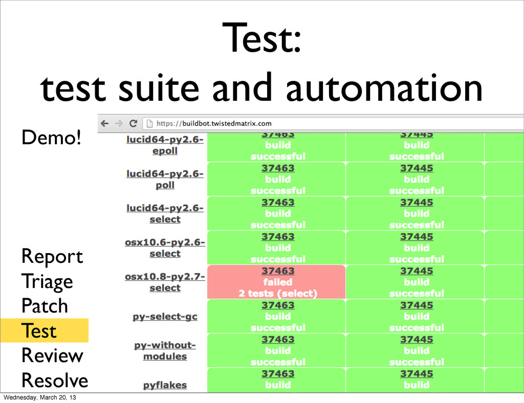 Test: test suite and automation Report Triage P...