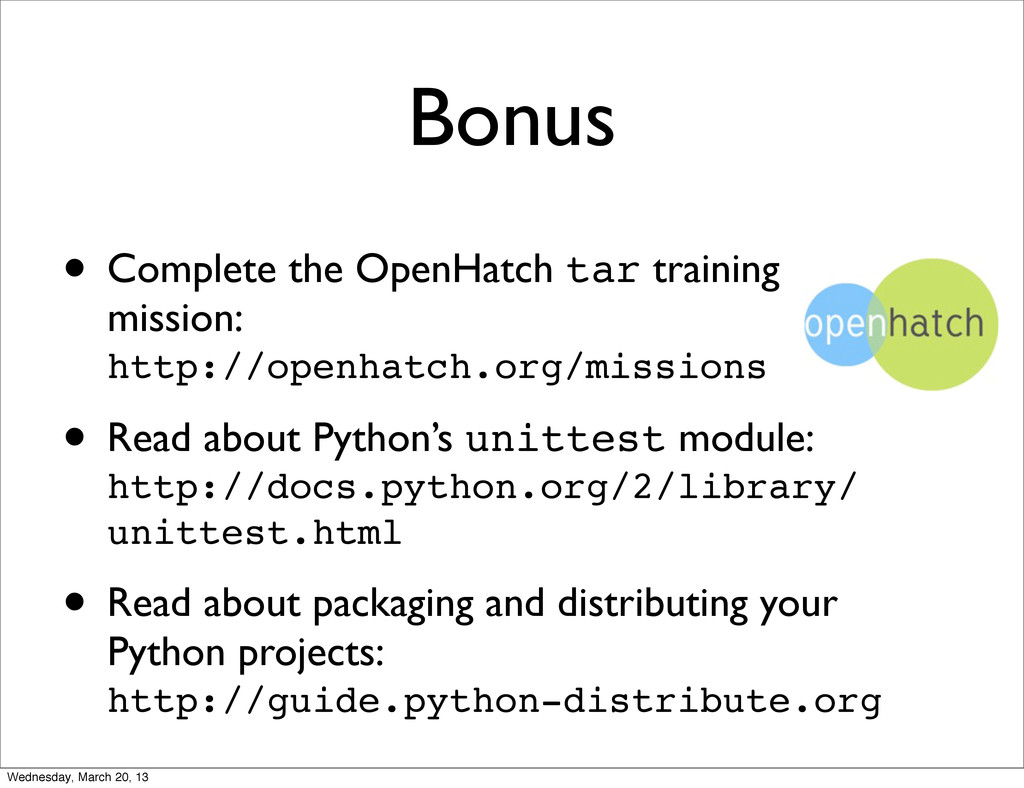 Bonus • Complete the OpenHatch tar training mis...