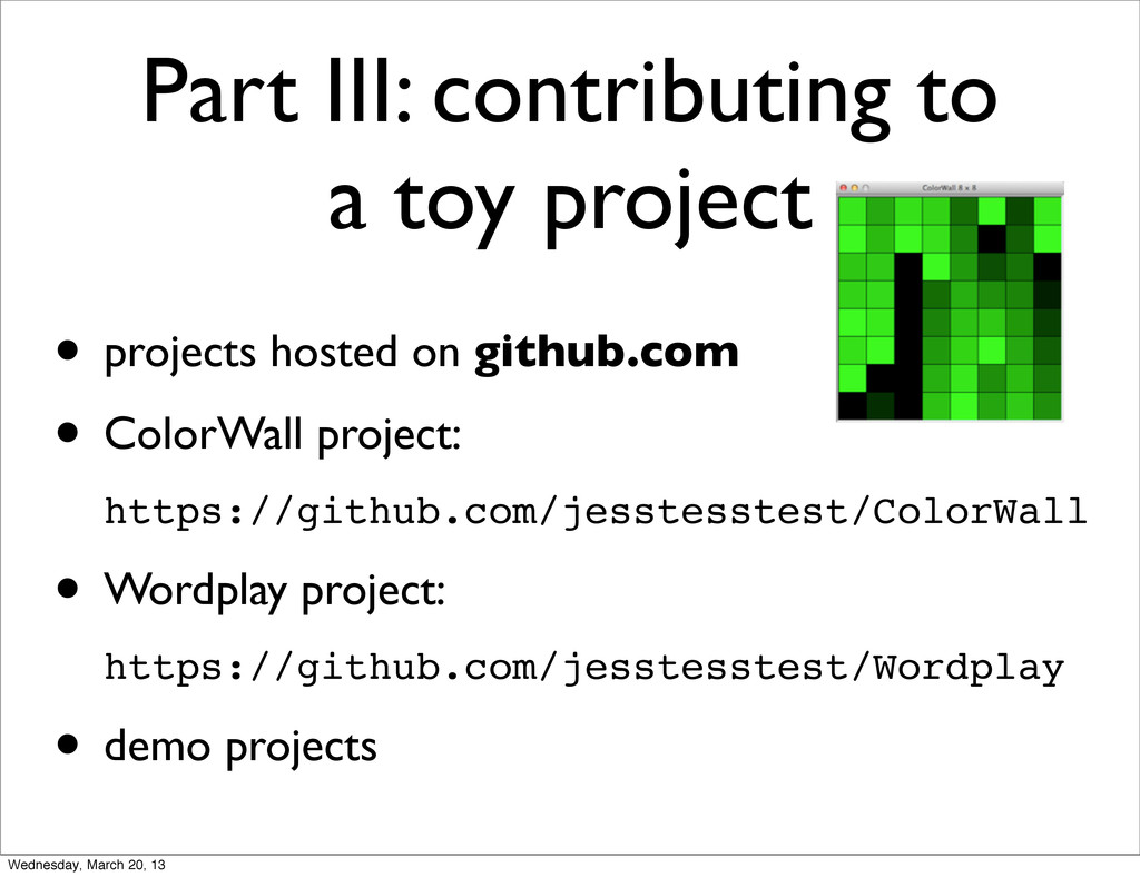 Part III: contributing to a toy project • proje...