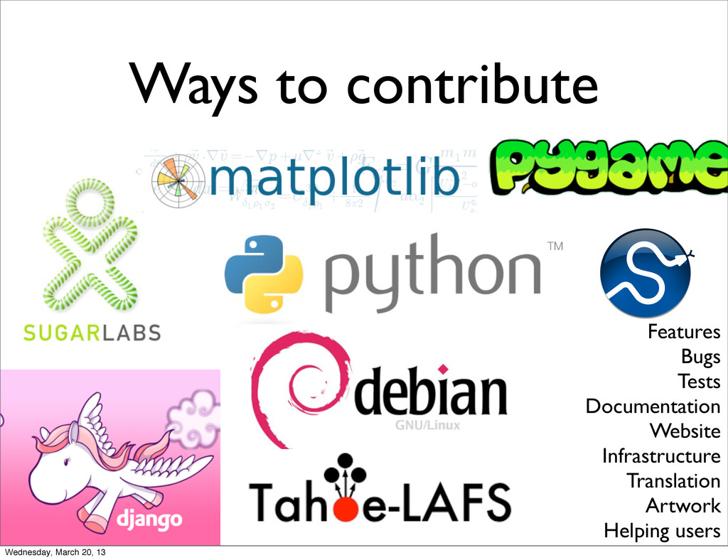 Ways to contribute Features Bugs Tests Document...