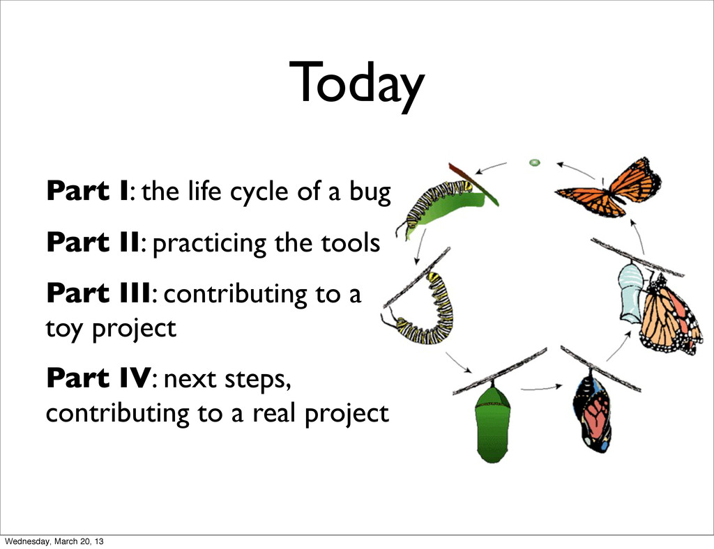 Today Part I: the life cycle of a bug Part II: ...