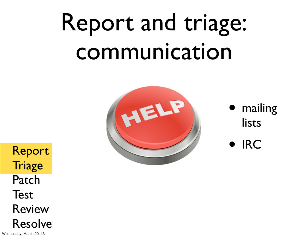 Report and triage: communication • mailing list...