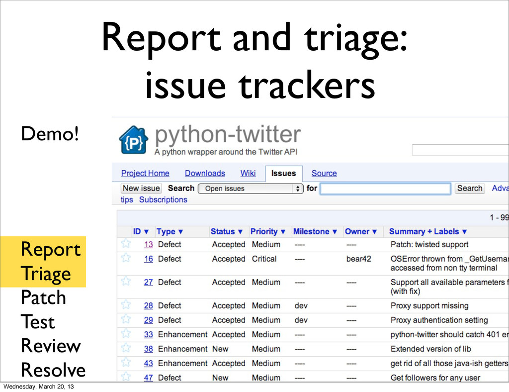 Report and triage: issue trackers Report Triage...