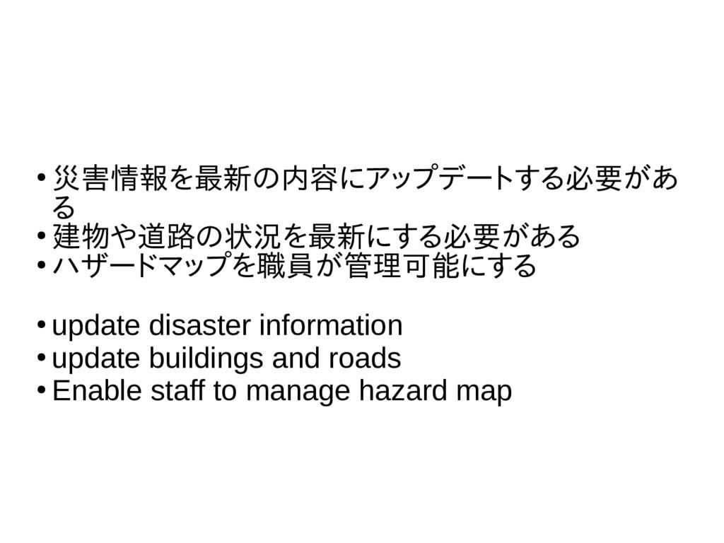 ● 災害情報を最新の内容にアップデートする必要があ る ● 建物や道路の状況を最新にする必要が...