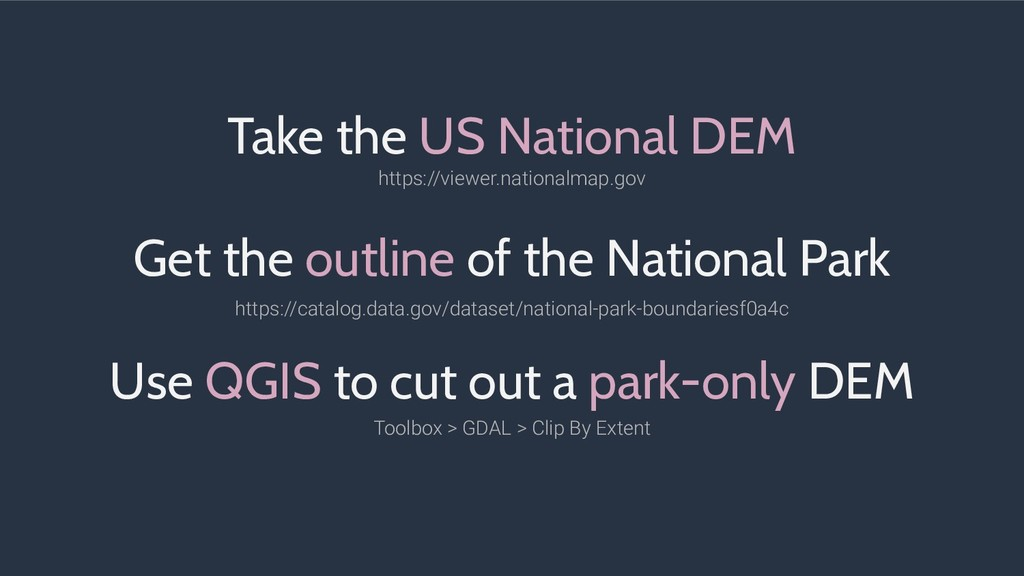 Take the US National DEM Get the outline of the...