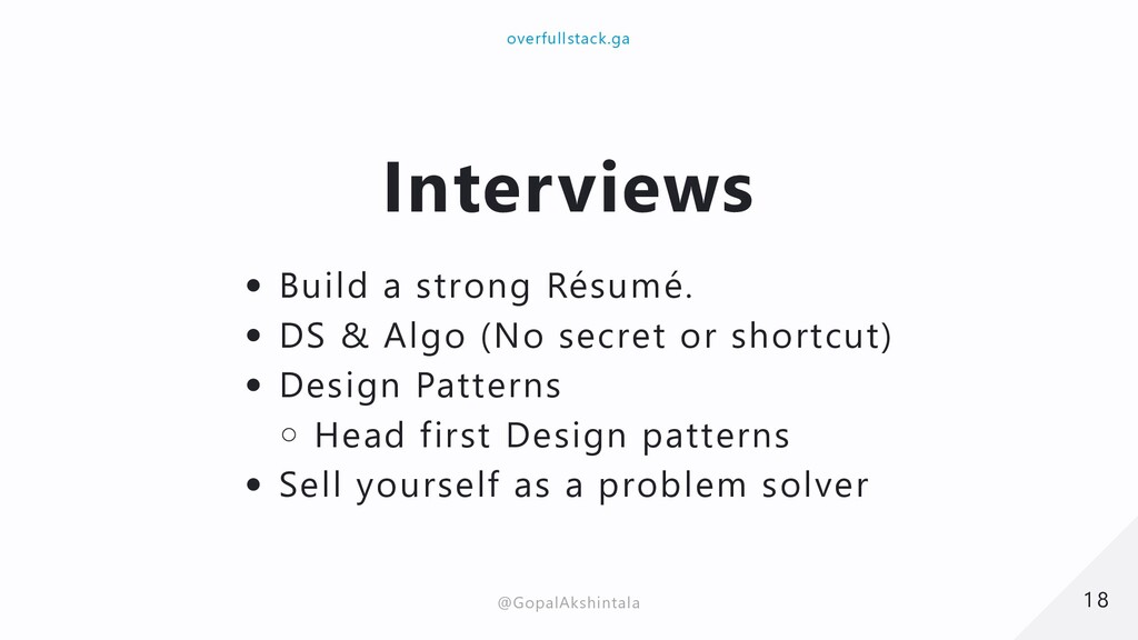 Interviews Build a strong Résumé. DS & Algo (No...