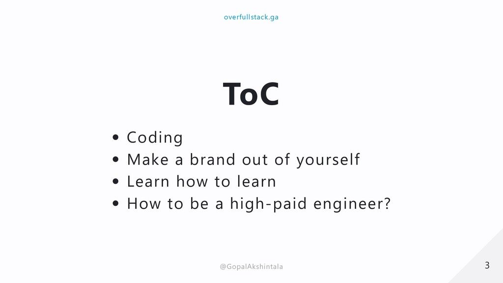 ToC Coding Make a brand out of yourself Learn h...