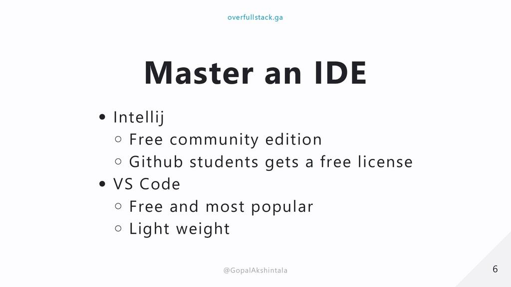 Master an IDE Intellij Free community edition G...