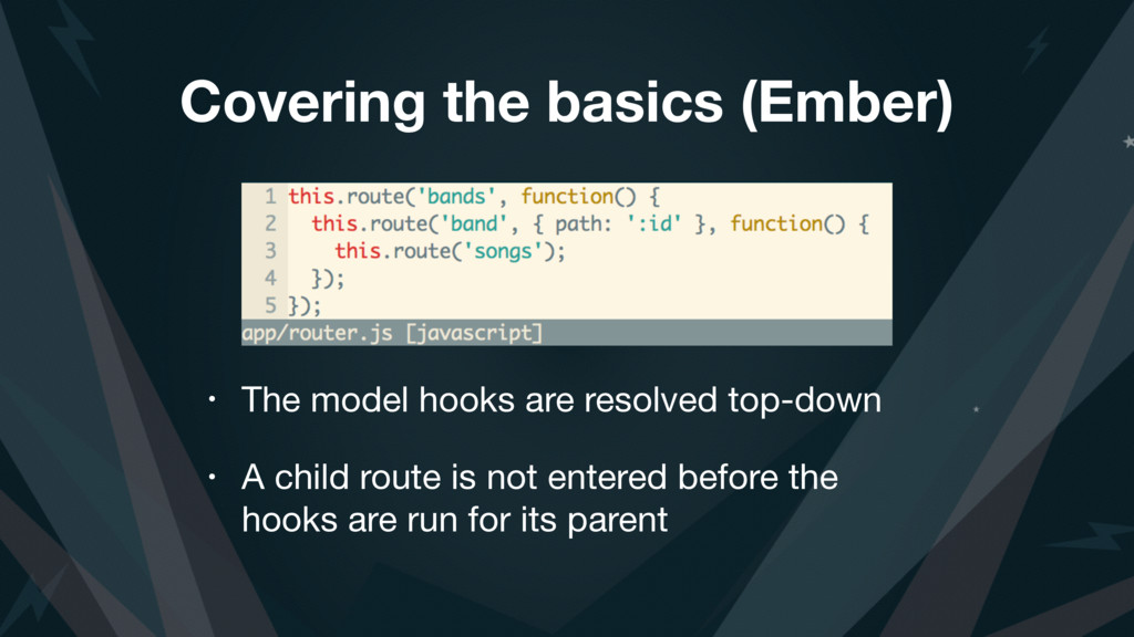 Covering the basics (Ember) • The model hooks a...