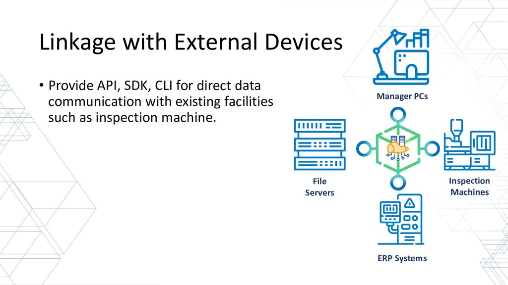 Linkage with External Devices • Provide API, SD...