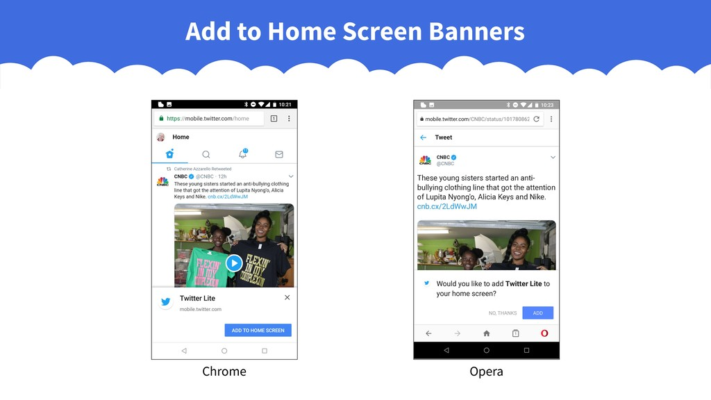 Add to Home Screen Banners Chrome Opera