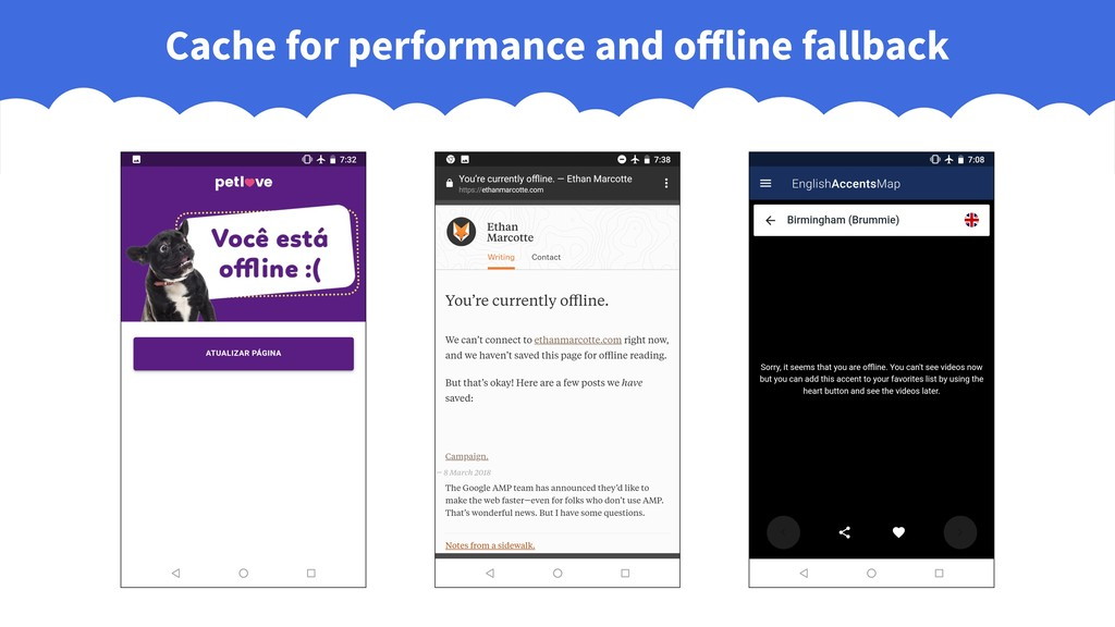 Cache for performance and offline fallback