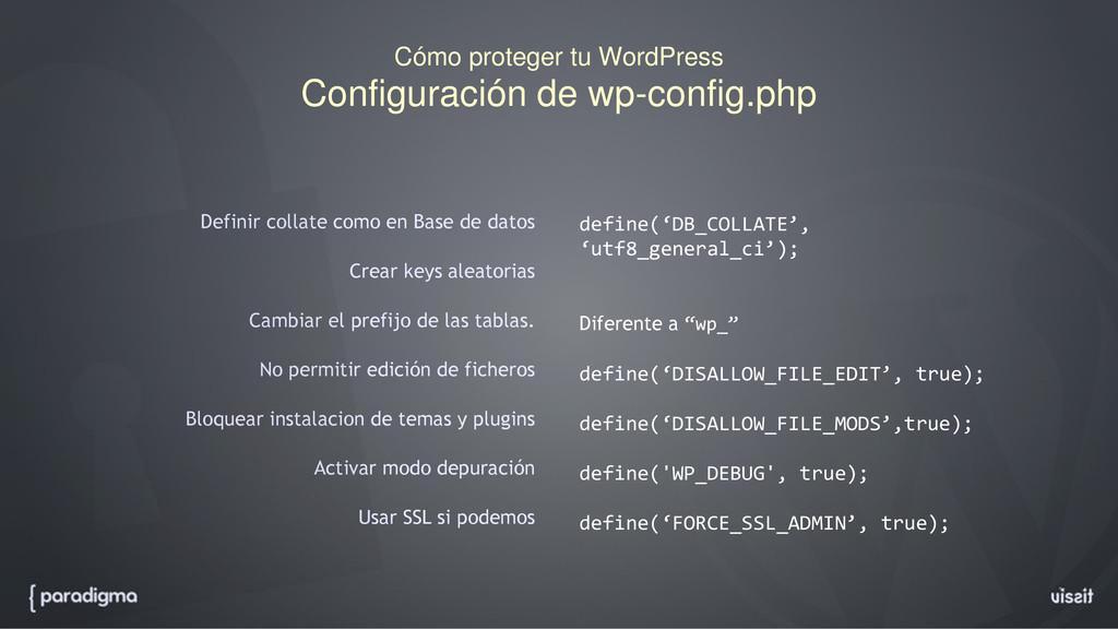 Cómo proteger tu WordPress Configuración de wp-...