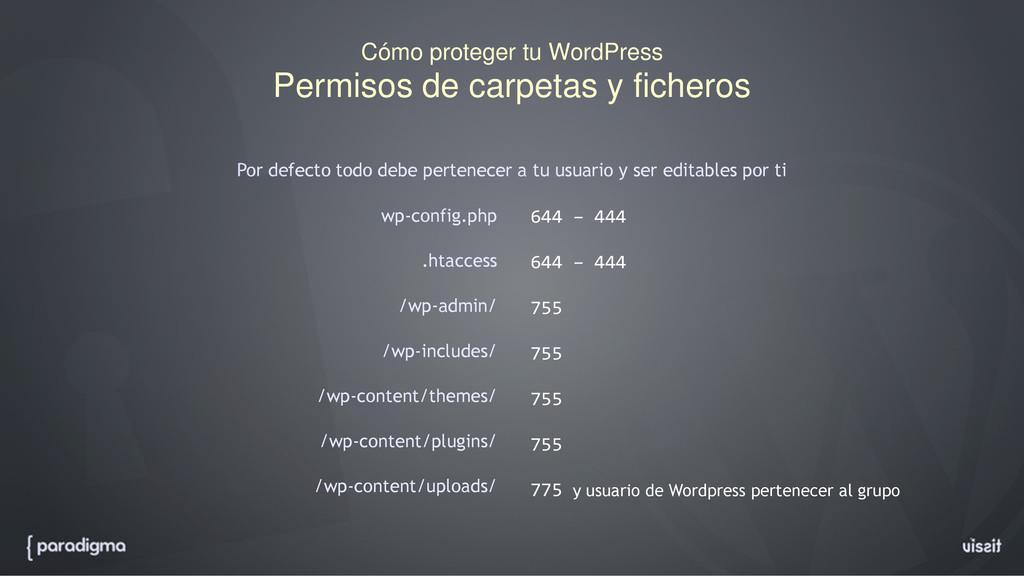 Cómo proteger tu WordPress Permisos de carpetas...