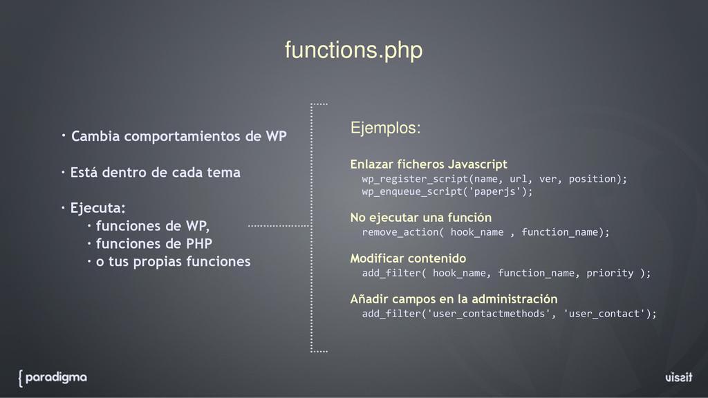 functions.php · Cambia comportamientos de WP · ...