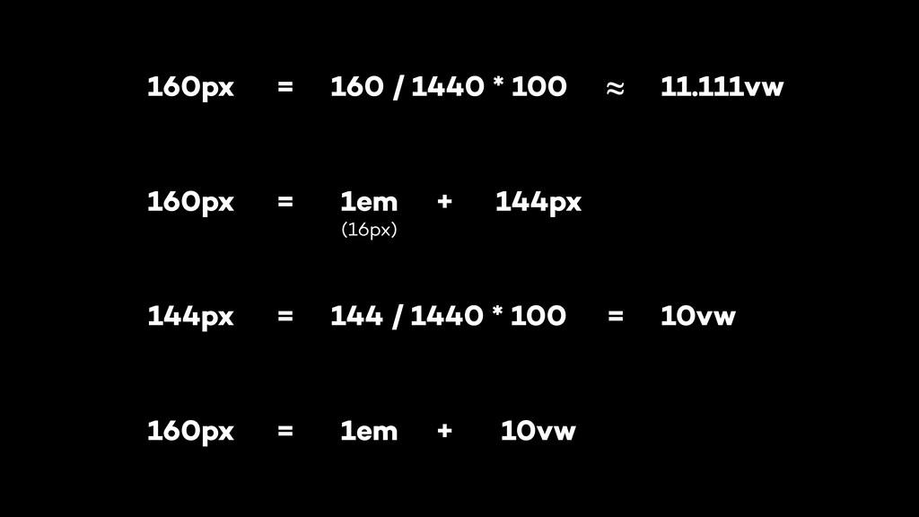160px 1em 144px = + 160px 160 / 1440 * 100 = ≈ ...