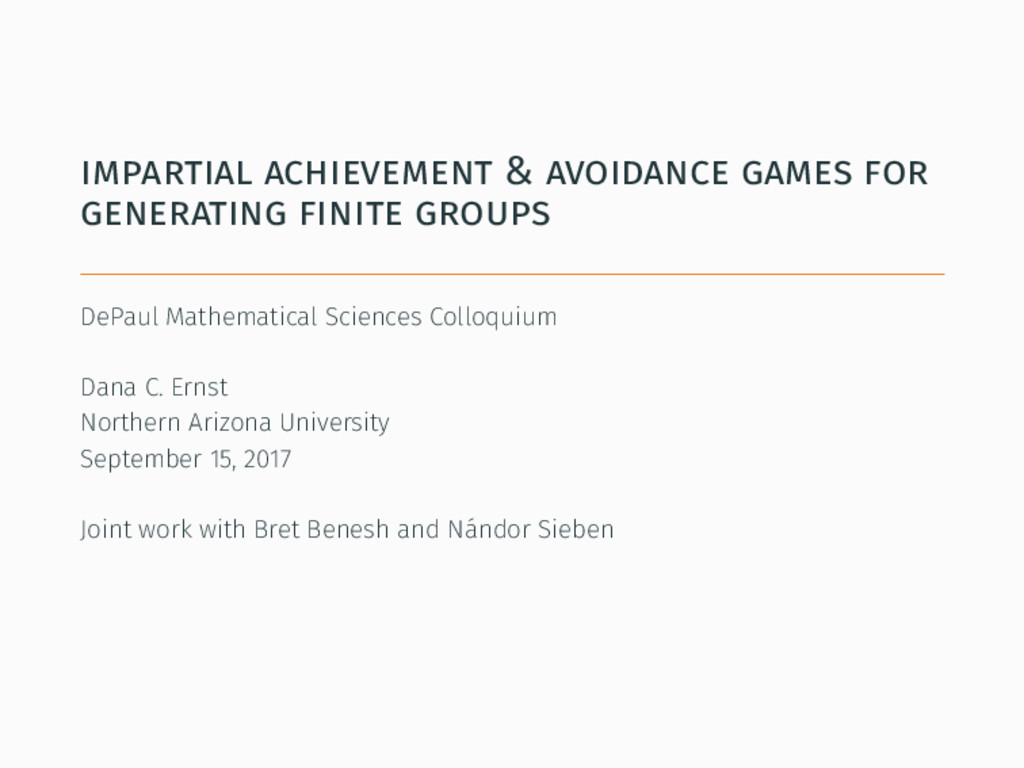impartial achievement & avoidance games for gen...