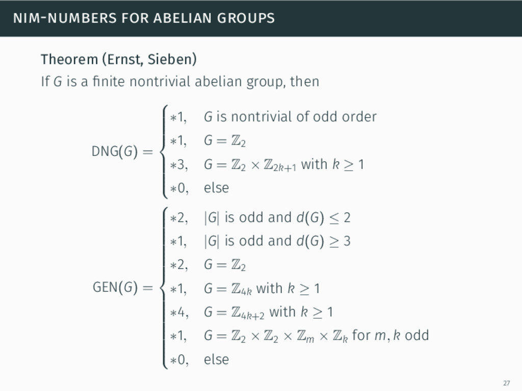 nim-numbers for abelian groups Theorem (Ernst, ...