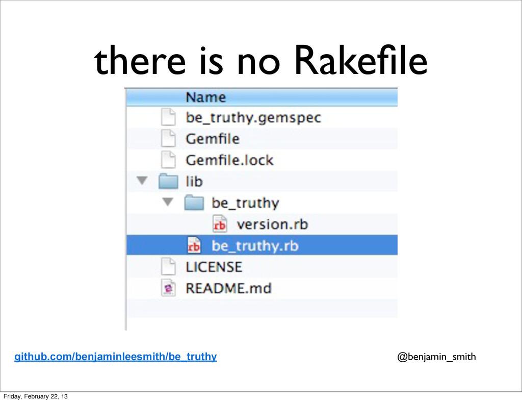 there is no Rakefile github.com/benjaminleesmith...