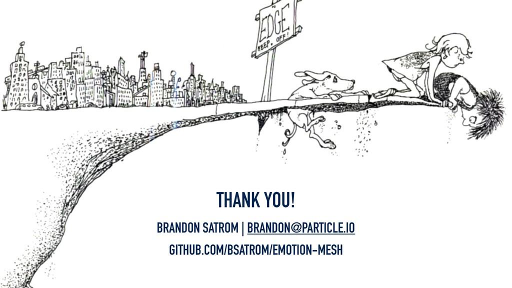 THANK YOU! BRANDON SATROM | BRANDON@PARTICLE.IO...