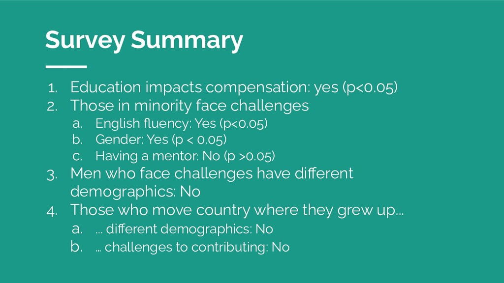 1. Education impacts compensation: yes (p<0.05)...