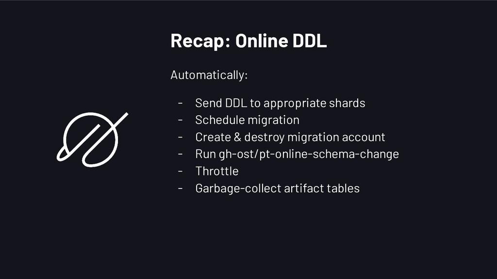 Recap: Online DDL Automatically: - Send DDL to ...