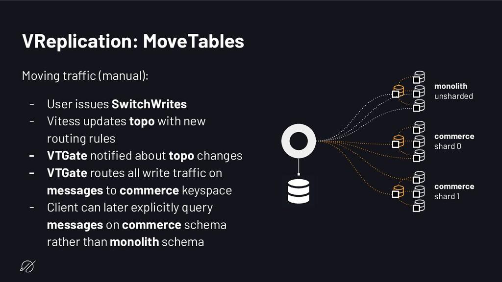 VReplication: MoveTables Moving traffic (manual...
