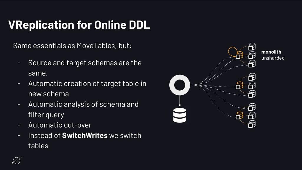 VReplication for Online DDL Same essentials as ...
