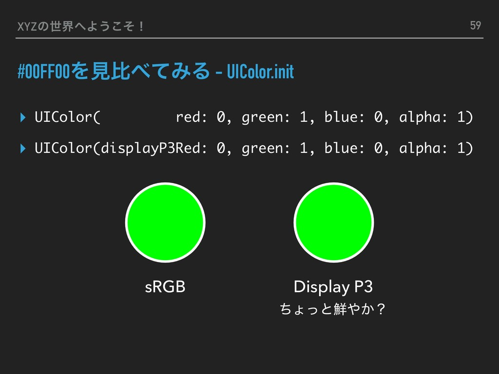 XYZͷੈքΑ͏ͦ͜ʂ #00FF00ΛݟൺͯΈΔ - UIColor.init ▸ UI...