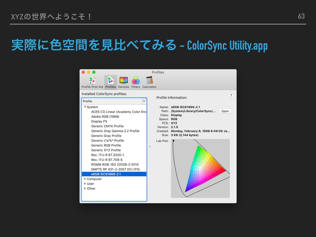 XYZͷੈքΑ͏ͦ͜ʂ ࣮ࡍʹ৭ۭؒΛݟൺͯΈΔ - ColorSync Utility....
