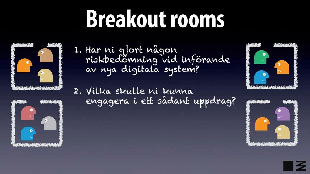 Breakout rooms 1. Har ni gjort någon riskbedömn...