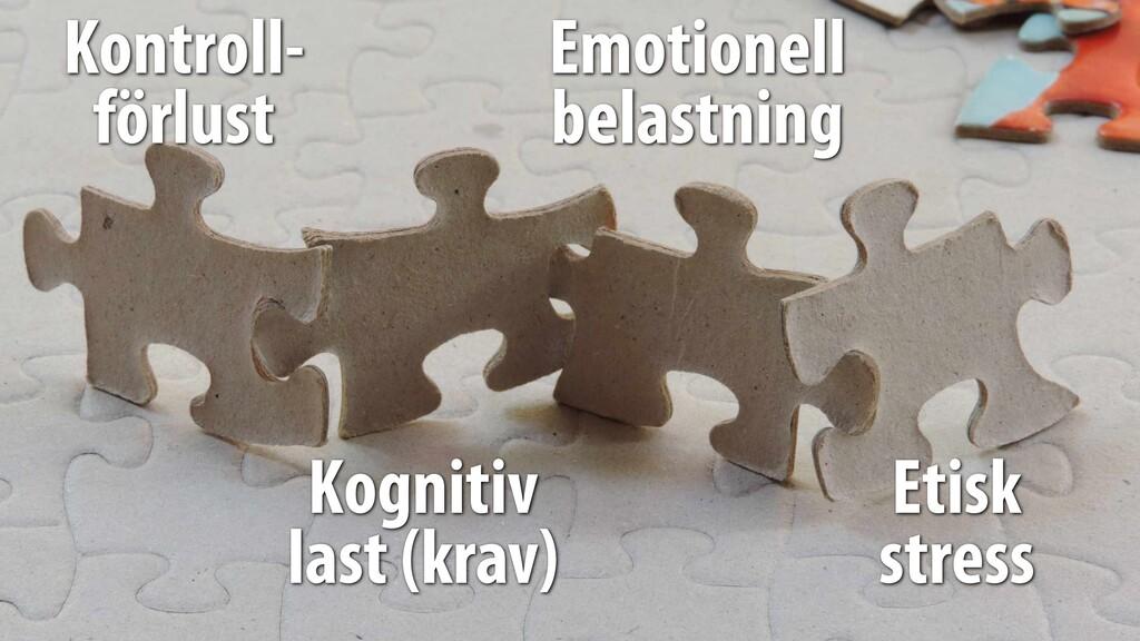 Kontroll- förlust Kognitiv last (krav) Emotion...