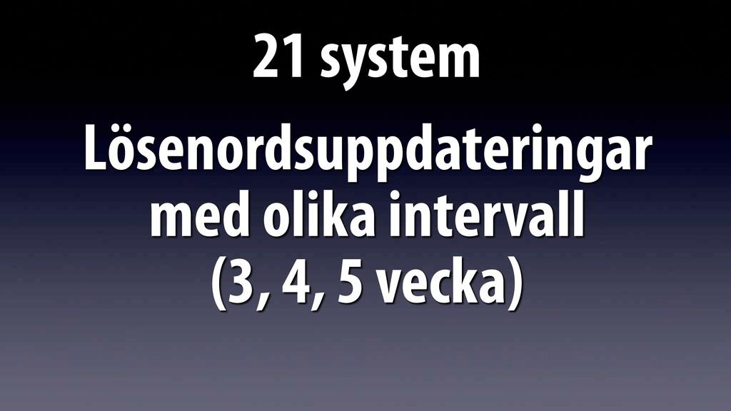 21 system Lösenordsuppdateringar med olika inte...