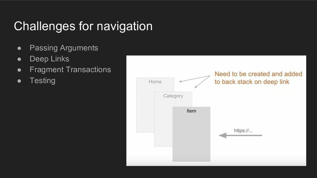 Challenges for navigation ● Passing Arguments ●...