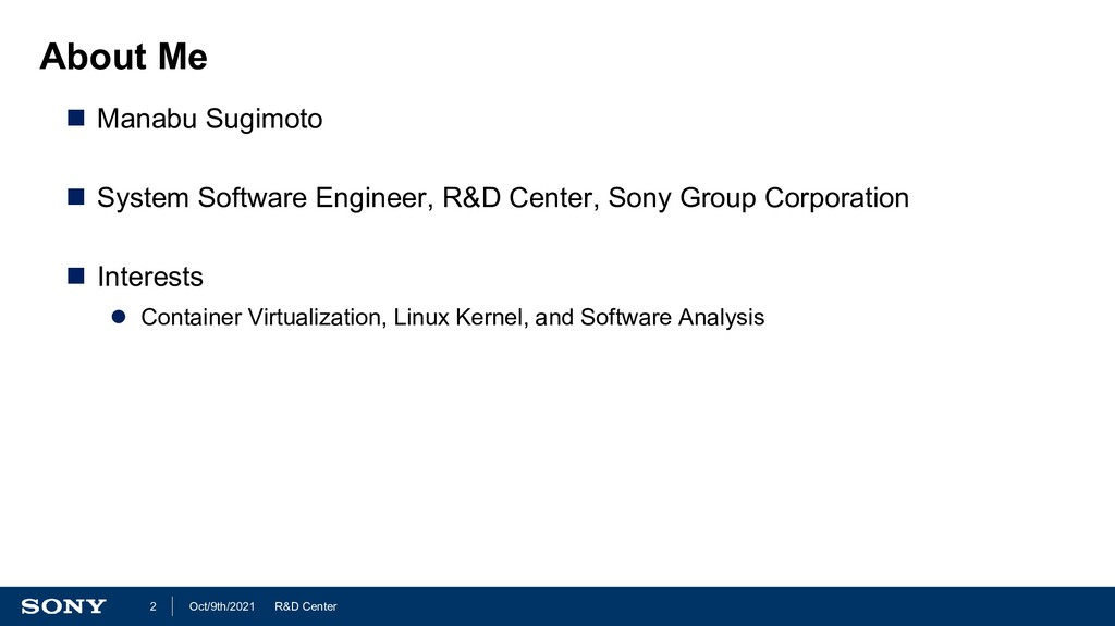 R&D Center Oct/9th/2021 2 About Me  Manabu Sug...