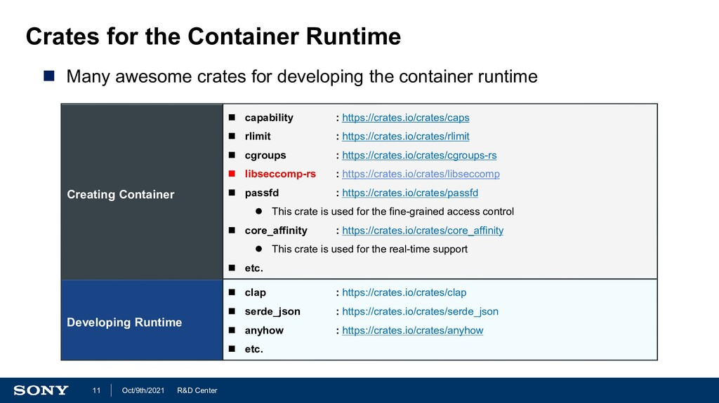 R&D Center Oct/9th/2021 11 Crates for the Conta...