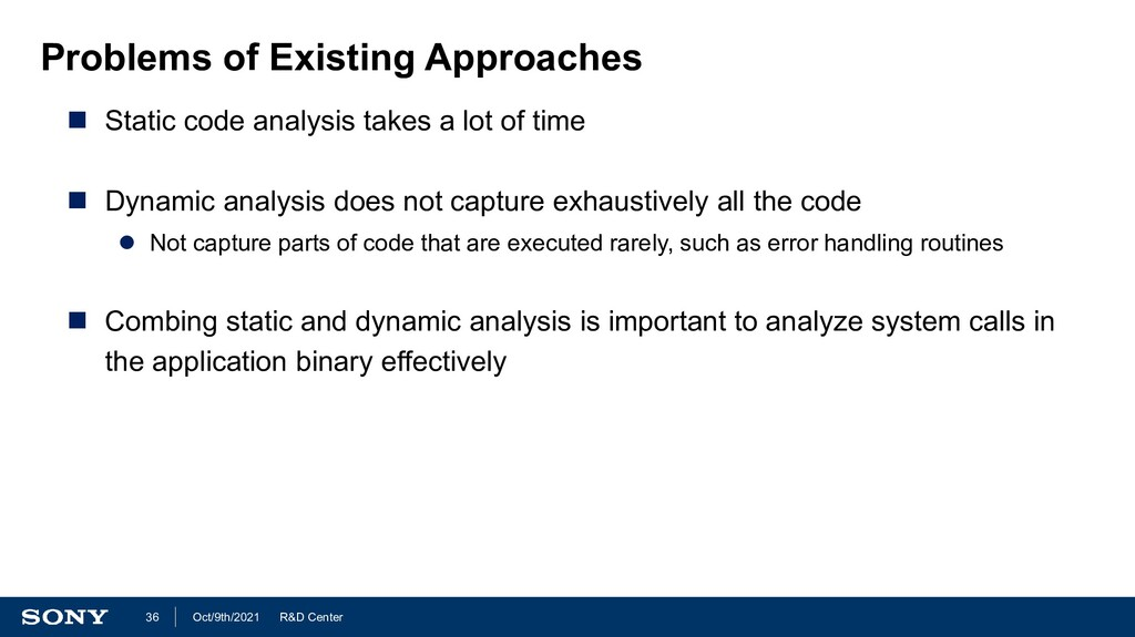 R&D Center Oct/9th/2021 36 Problems of Existing...