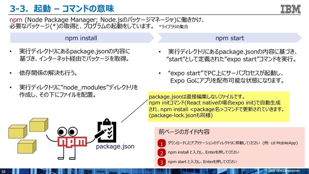 18 © 2021 IBM Corporation package.json 1 ダウンロード...