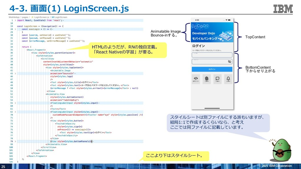 25 © 2021 IBM Corporation 4-3. 画⾯(1) LoginScree...