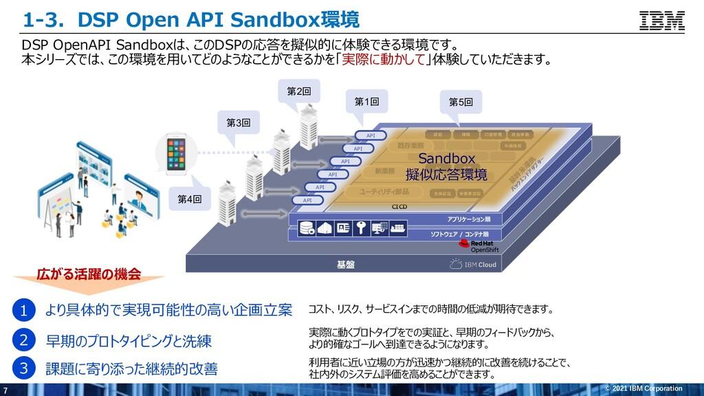 7 © 2021 IBM Corporation 1-3.DSP Open API Sandb...