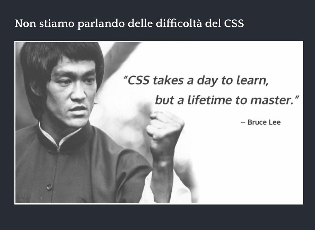 Non stiamo parlando delle difficoltà del CSS Non...