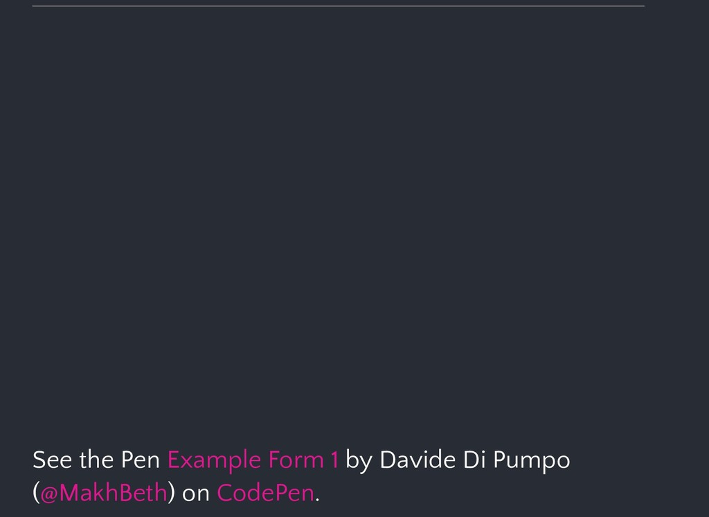 See the Pen by Davide Di Pumpo ( ) on . Example...