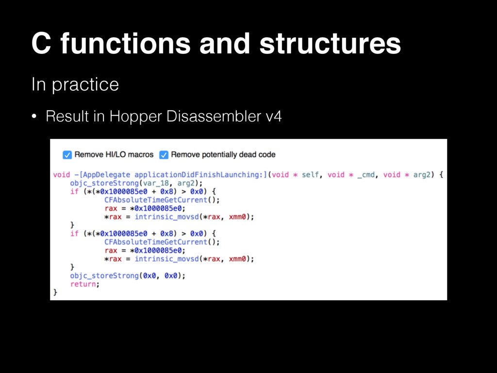 C functions and structures In practice • Result...