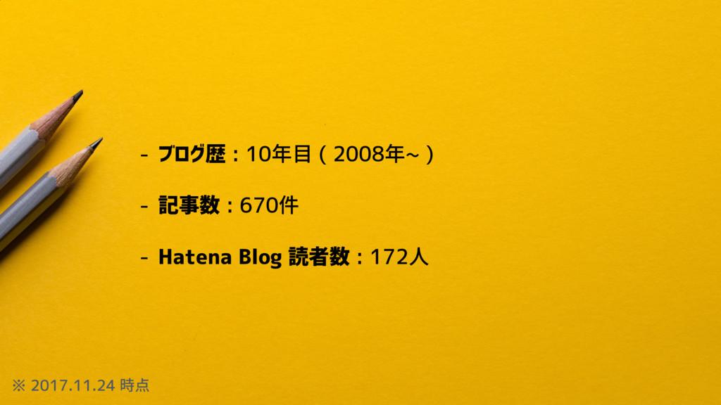 - ブログ歴 : 10年目 ( 2008年~ ) - 記事数 : 670件 - Hatena ...