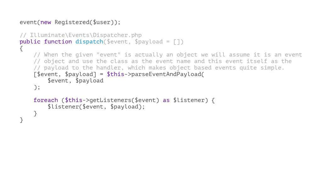 event(new Registered($user)); // Illuminate\Eve...