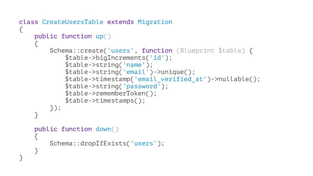 class CreateUsersTable extends Migration { publ...