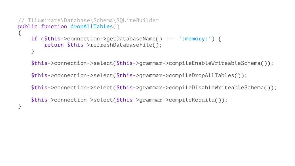 // Illuminate\Database\Schema\SQLiteBuilder pub...