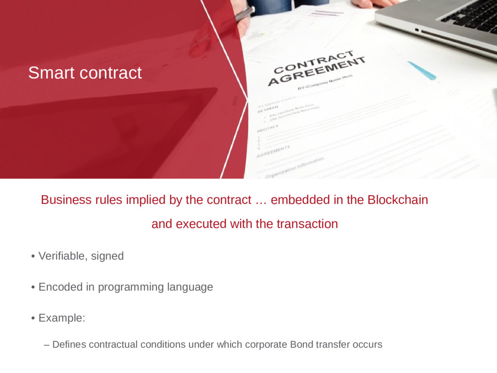 Smart contract • Verifiable, signed • Encoded i...