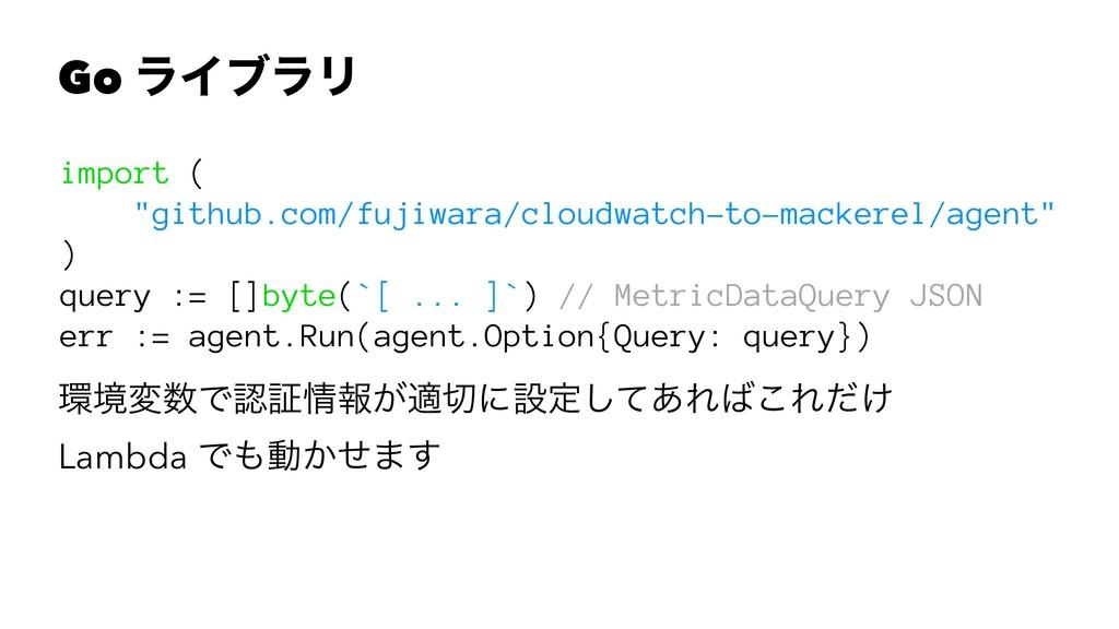 """Go ϥΠϒϥϦ import ( """"github.com/fujiwara/cloudwat..."""