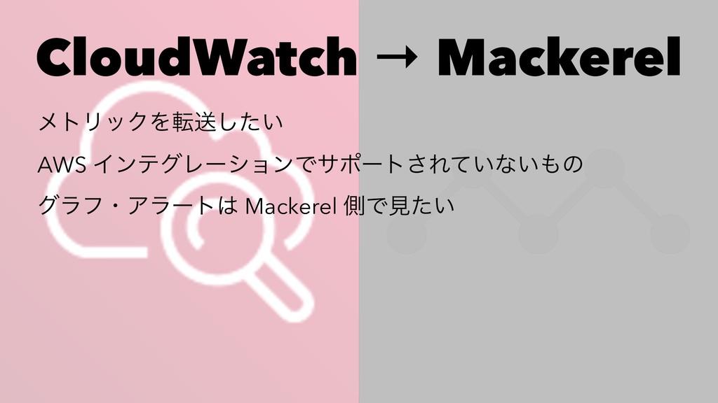 CloudWatch → Mackerel ϝτϦοΫΛసૹ͍ͨ͠ AWS ΠϯςάϨʔγϣϯ...
